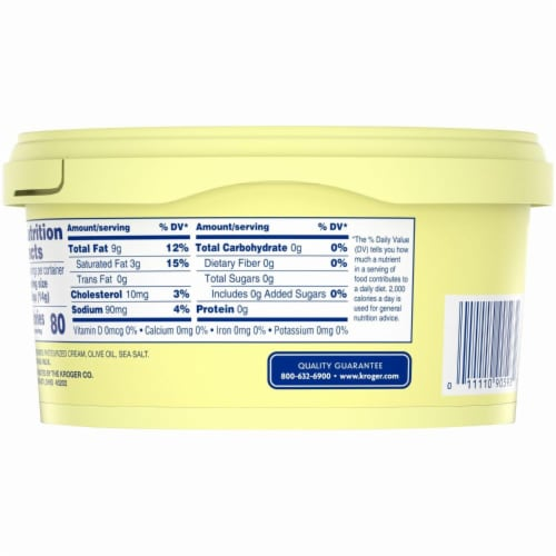 Kroger® Spreadable Butter with Olive Oil & Sea Salt Perspective: top