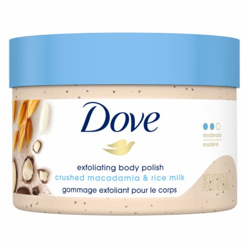 Dove Crushed Macadamia & Rice Milk Exfoliating Body Polish Perspective: top