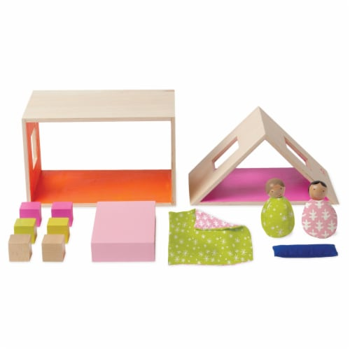Manhattan Toy MIO Sleeping Place + 2 Peg Dolls Montessori Style Wooden Building Playset Perspective: top