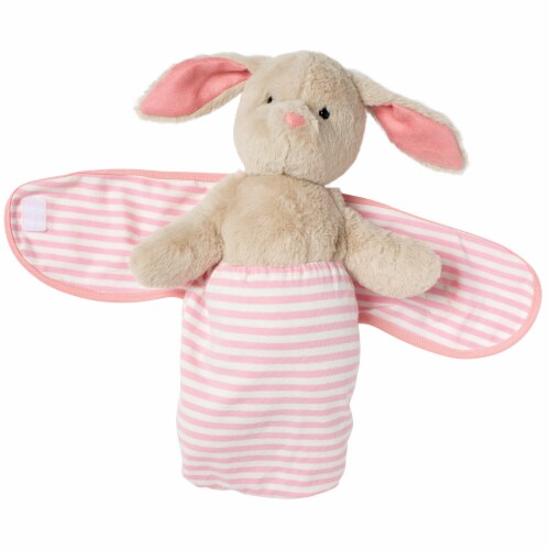 """Manhattan Toy Swaddle Baby Bunny 11"""" Plush Toy with Swaddle Blanket Perspective: top"""