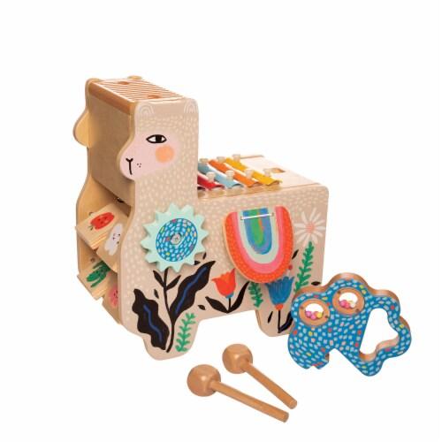 Manhattan Toy Musical Llama Wooden Toddler Instrument Maraca, Clacker, Washboard & Xylophone Perspective: top