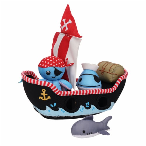 Manhattan Toy Neoprene Pirate Ship 5 Piece Floating Spill n Fill Bath Toy Perspective: top