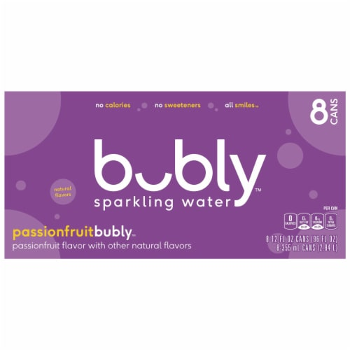 bubly Passionfruit Sparkling Water Perspective: top