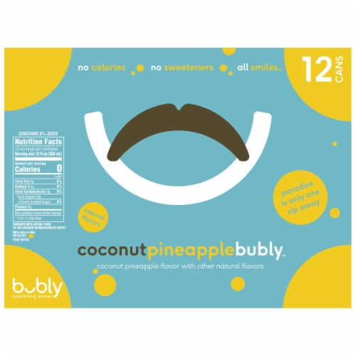 Bubly Coconut Pineapple Sparkling Water Perspective: top