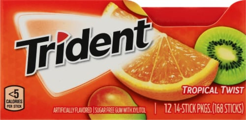 Trident Tropical Twist Sugar Free Gum (12 Pack) Perspective: top