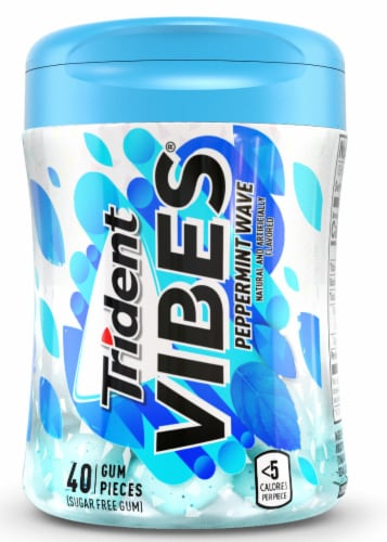 Trident Vibes Peppermint Wave Sugar Free Gum Perspective: top