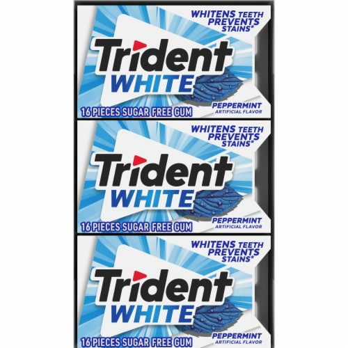 Trident White Peppermint Sugar Free Gum Perspective: top