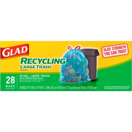 Glad Blue Recycling Large Trash Bags Perspective: top