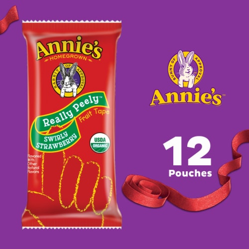 Annie's Organic Strawberry and Berry Really Peely Fruit Tape Variety Pack Perspective: top