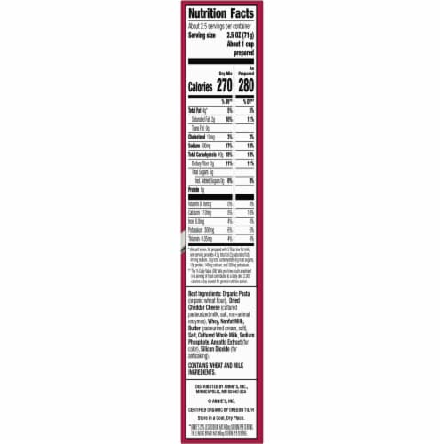 Annie's Reduced Sodium Classic Mild Cheddar Macaroni & Cheese Perspective: top