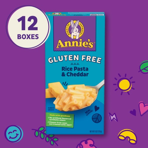 Annie's Gluten-Free Rice Pasta & Classic Cheddar Macaroni & Cheese Perspective: top