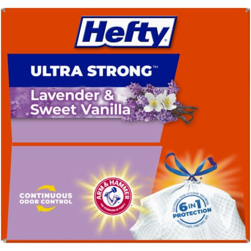 Hefty Ultra Strong Lavender & Sweet Vanilla 13-Gallon Tall Kitchen Drawstring Trash Bags Perspective: top