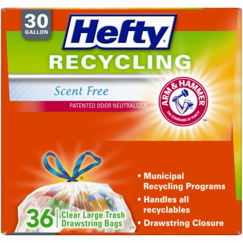 Hefty Recycling Scent Free Large 30 Gallon Clear Drawstring Trash Bags Perspective: top