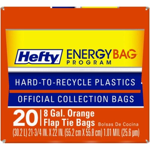 Hefty Energy Bag Program 8 Gallon Orange Flap Tie Bags Perspective: top