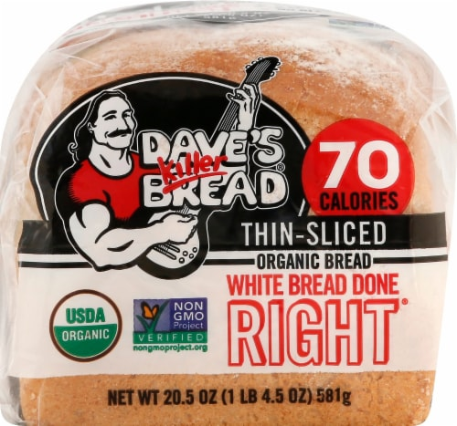 Dave's Killer Organic Thin Sliced Done Right White Bread Perspective: top