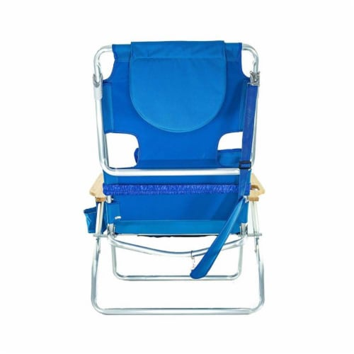 Ostrich Deluxe Padded 3-N-1 Outdoor Lounge Reclining Beach Chair, Blue Perspective: top