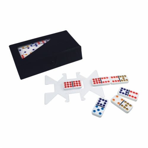 University Games ChickenFoot Professional Size Double 9 Color Dot Dominoes Perspective: top