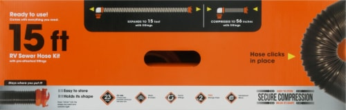 Camco RhinoFLEX RV Sewer Hose Kit with Pre-attached Swivel Fittings Perspective: top