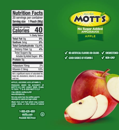 Mott's No Sugar Added Applesauce Pouches Perspective: top