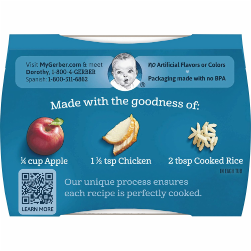 Gerber 2nd Foods Apple Chicken Dinner Stage 2 Baby Food Perspective: top