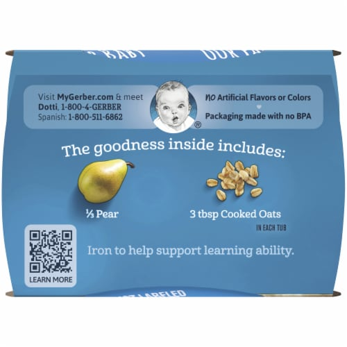 Gerber® 2nd Foods Pear Cinnamon with Oatmeal Cereal Stage 2 Baby Food Perspective: top