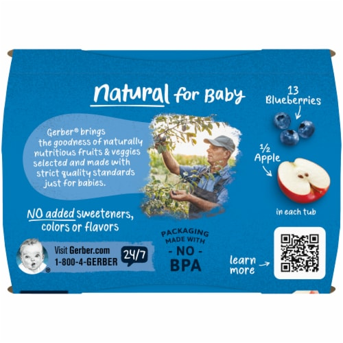 Gerber 2nd Foods Apple Blueberry Stage 2 Baby Food Perspective: top