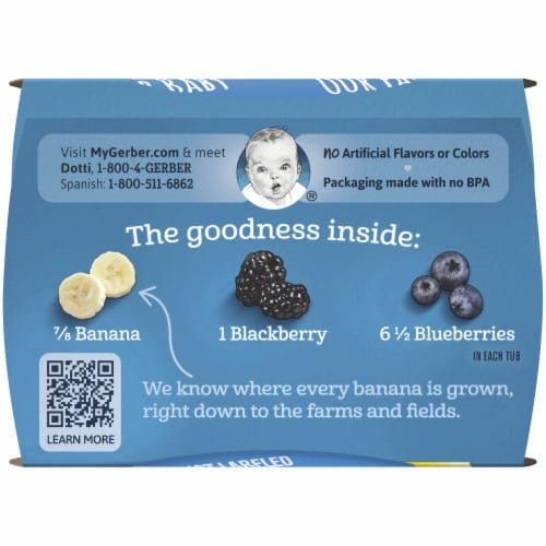 Gerber® 2nd Foods® Banana Blackberry Blueberry Stage 2 Baby Food Perspective: top