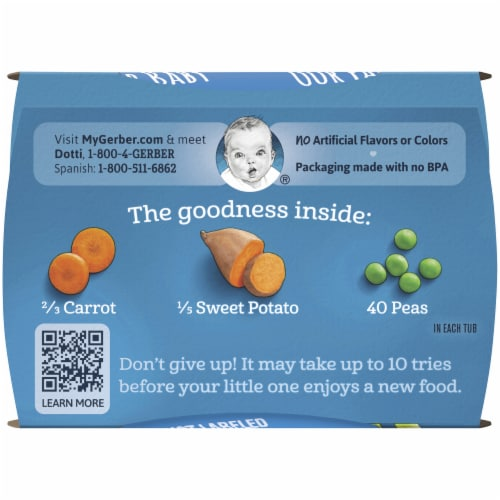 Gerber 2nd Foods Carrot Sweet Potato and Pea Stage 2 Baby Food Perspective: top
