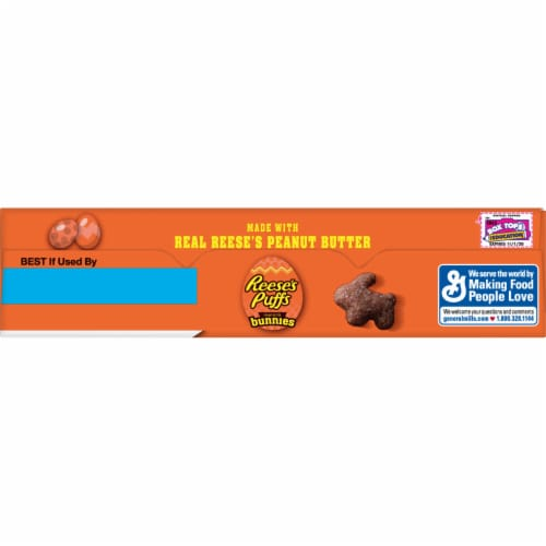 Reese's Puffs Peanut Butter Bunnies Sweet & Crunchy Corn Puff Cereal Perspective: top