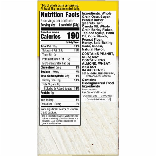 Nature Valley Honey Biscuits with Peanut Butter Filling Perspective: top