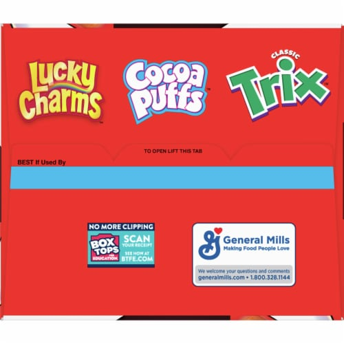 General Mills Lucky Charms Cocoa Puffs & Trix Triple Pack Cereal Perspective: top