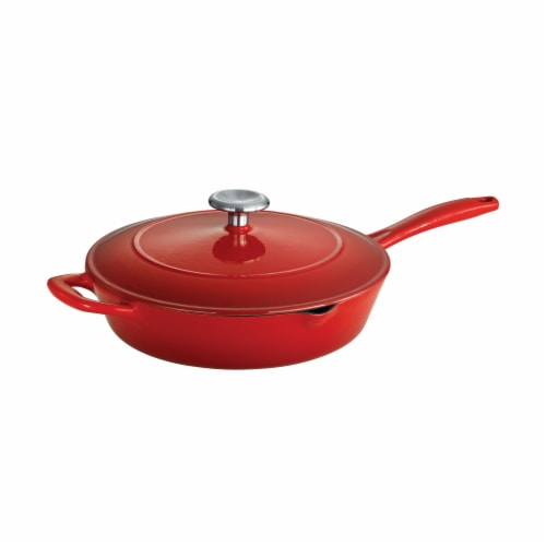 Tramontina Gourmet Covered Cast Iron Skillet - Gradated Red Perspective: top