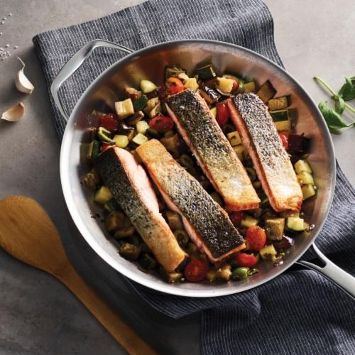Tramontina Gourmet Tri-Ply Clad Helper Handle Frying Pan Perspective: top