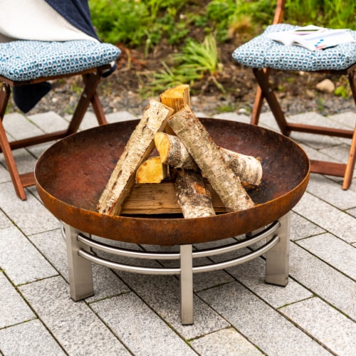 Curonian Jura Fire Pit Large, Diameter 31  - Combinations of Rusting and Stainless Steel Perspective: top