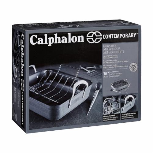 Calphalon 5 Piece 16 Inch Contemporary Nonstick Roaster Pan and Rack Set, Black Perspective: top
