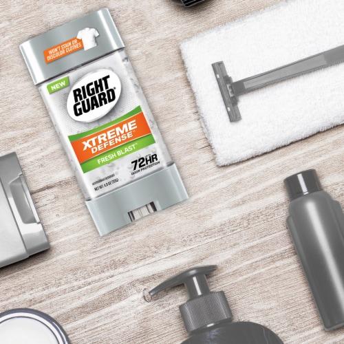 Right Guard Xtreme Defense 5 Fresh Blast Gel Deodorant Perspective: top
