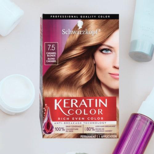 Schwarzkopf Keratin Color 7.5 Caramel Blonde Permanent Hair Color Kit Perspective: top