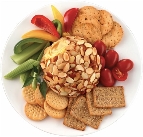 Kaukauna® Rose White Cheddar Spreadable Cheese with Almonds Cheeseball Perspective: top