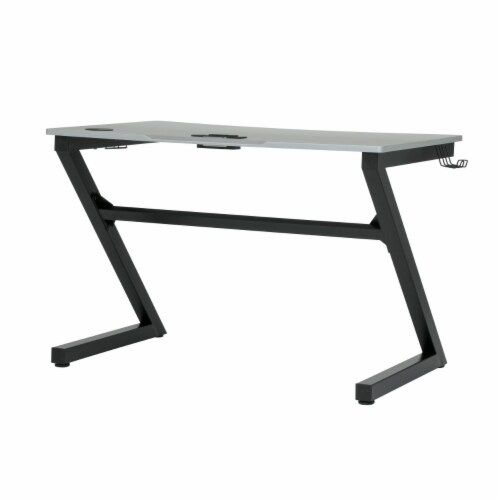 SD Gaming Zone 52  Wood Computer Desk with Cup and Headphone Holder in Black Perspective: top