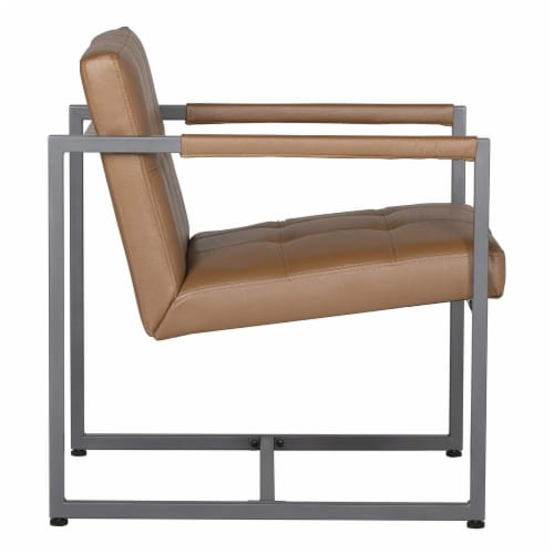 Studio Designs Home Camber Small Metal and Leather Accent Chair in Caramel Perspective: top