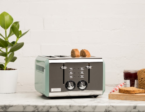 Haden Cotswold 4-Slice Wide Slot Toaster - Sage Green Perspective: top