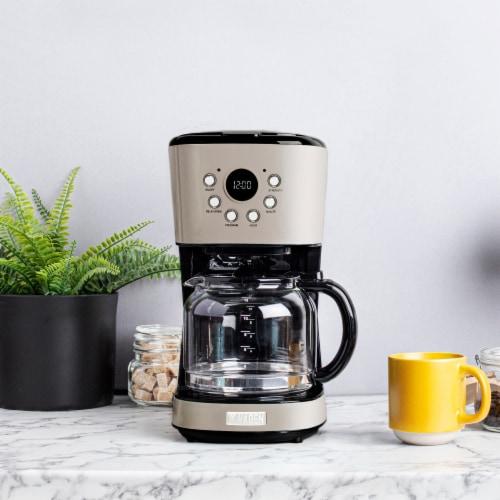 Haden Dorset Modern Programmable Coffee Maker - Putty Perspective: top