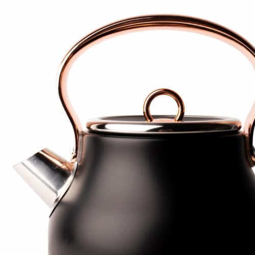 Haden Heritage Stainless Steel Electric Kettle - Black/Copper Perspective: top