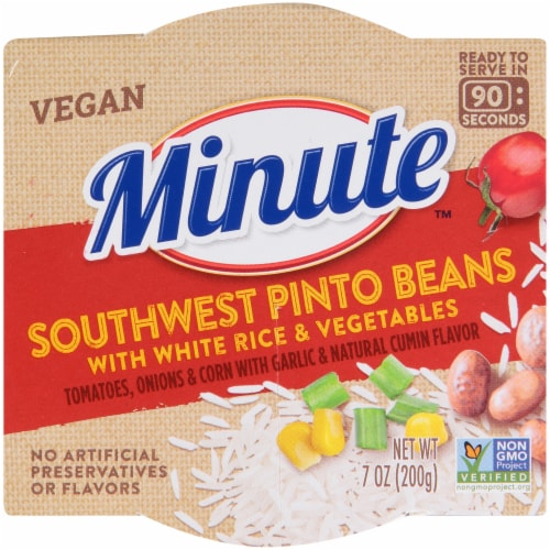 Minute Southwest Pinto Beans with White Rice & Vegetables Perspective: top