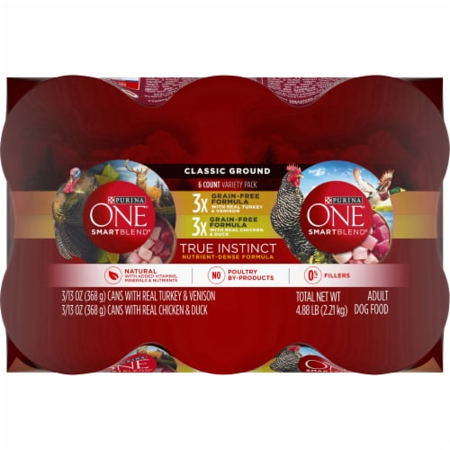 Purina ONE® SmartBlend® True Instinct Grain Free Classic Ground Wet Dog Food Variety Pack Perspective: top