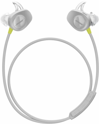 Bose SoundSport Wireless Bluetooth In-Ear Headphones - White/Citron Perspective: top