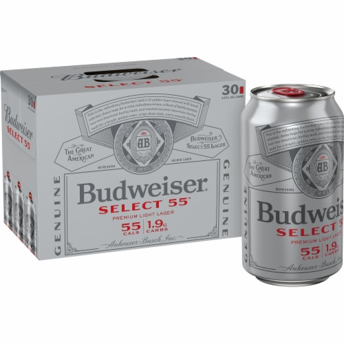 Budweiser Select 55 Light Lager Beer Perspective: top