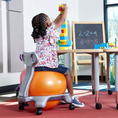 Gaiam Active Kid Classic Stability Balance Ball Chair with Reliable 4 Wheel Base Perspective: top
