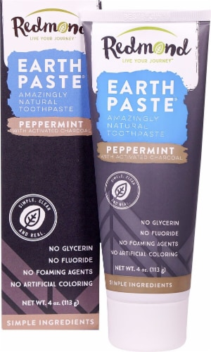 Redmond Earthpaste Activated Charcoal Natural Toothpaste Perspective: top