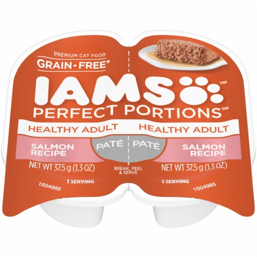 IAMS Perfect Portions Grain Free Pate Salmon Recipe Adult Wet Cat Food Twin Pack Perspective: top